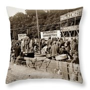 Race Cars Crown Point Indiana June 19 1909 Throw Pillow