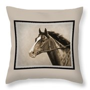 Race Horse Old Photo Fx Throw Pillow by Crista Forest
