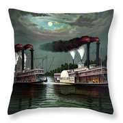 Race Of The Steamers Robert E Lee And Natchez Throw Pillow