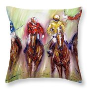 Irish Racehorses Available As A Signed And Numbered Print See Www.pixi-.com Throw Pillow