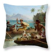 Race To The Market Tahiti Throw Pillow