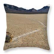 Racetrack Sailing Rocks Death Valley National Park Throw Pillow