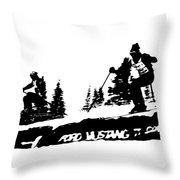 Racing Over The Ski Jump Throw Pillow
