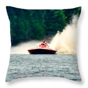 Racing Speed Boat Throw Pillow