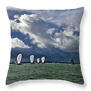 Racing Yachts In The Solent Throw Pillow