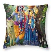 Radha-krishna Radhakunda Throw Pillow by Lila Shravani