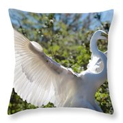 Radiant Great Egret Throw Pillow