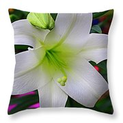 Radiant In White - Lily Throw Pillow