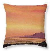 Radiant Island Sunset Throw Pillow