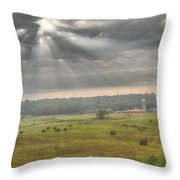 Radiant Light Over The Farm Throw Pillow