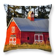 Radiant Red Barn Throw Pillow