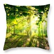 Radiant Sunlight Through The Trees Throw Pillow
