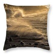 Radiant Sunrise Surf Throw Pillow