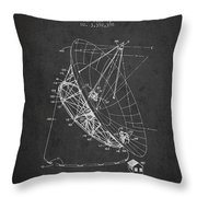 Radio Telescope Patent From 1968 - Charcoal Throw Pillow