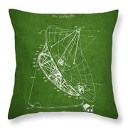 Radio Telescope Patent From 1968 - Green Throw Pillow