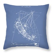 Radio Telescope Patent From 1968 - Light Blue Throw Pillow