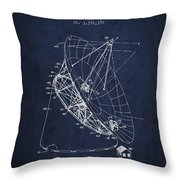 Radio Telescope Patent From 1968 - Navy Blue Throw Pillow