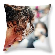 Rafael Nadal From Up Close Throw Pillow