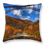 Rafting Down The New River Gorge Throw Pillow