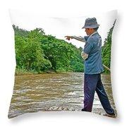 Rafting Guide On Mae Thang River Near Chiang Mai-thailand Throw Pillow