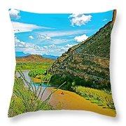 Rafting In Santa Elena Canyon In Big Bend National Park-texas Throw Pillow