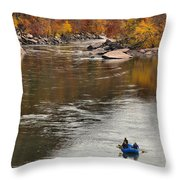 Rafting The New River Throw Pillow