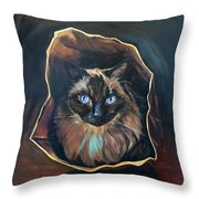 Cat Painting. Ragdoll Cat The Cat's In The Bag Throw Pillow