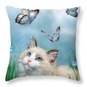 Ragdoll Kitty And Butterflies Throw Pillow