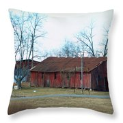 Ragged Red Shed I Throw Pillow