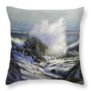 Raging Surf Throw Pillow by Frank Wilson