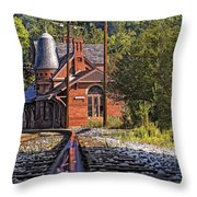 Rail Reflection At The Train Station Throw Pillow