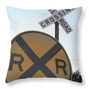 Rail Road Crossing Throw Pillow