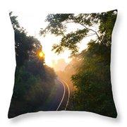 Rail Road Sunrise Throw Pillow