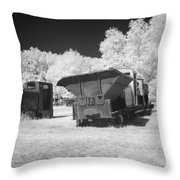 railcars in infrared light in the forest in Netherlands Throw Pillow