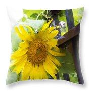 Railed Sunflower Throw Pillow