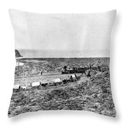 Railroad And Wagon Train Throw Pillow