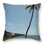 Railroad  Bridge And Palm Trees Throw Pillow