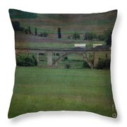 Railroad Bridge At Rosalia Texture Throw Pillow