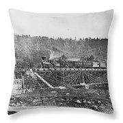 Railroad Bridge, C1860 Throw Pillow