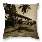 Railroad  Bridge In Sepia Throw Pillow