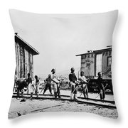 Railroad Chinese Workers Throw Pillow