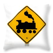 Railroad Crossing Steam Engine Roadsign On White Throw Pillow