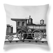 Railroad Engine, C1874 Throw Pillow