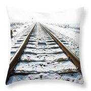 Railroad In Snow Throw Pillow