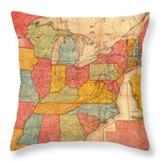 Railroad Map Of The United States 1852 Throw Pillow