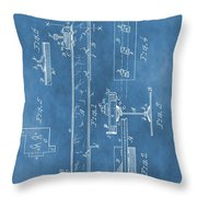 Railroad Tie Patent On Blue Throw Pillow