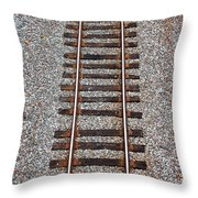 Railroad Track With Gravel Bed Throw Pillow