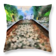 Railroad Tracks In The Summer Heat Throw Pillow