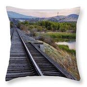 Railroad Tracks Leading To The Mountains Throw Pillow