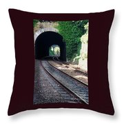 Railroad Tracks At Conway Castle, Wales  Throw Pillow